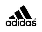 Adidas logo black text white background