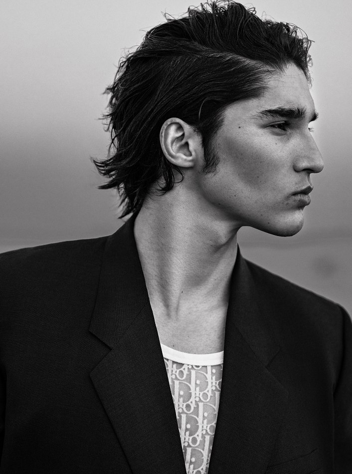 Male model Maruf black and white photo wearing suit jacket