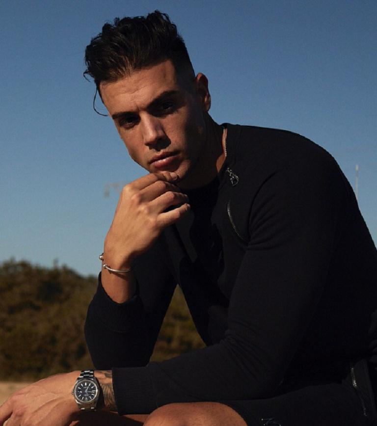 Male Model sitting wearing dark clothing