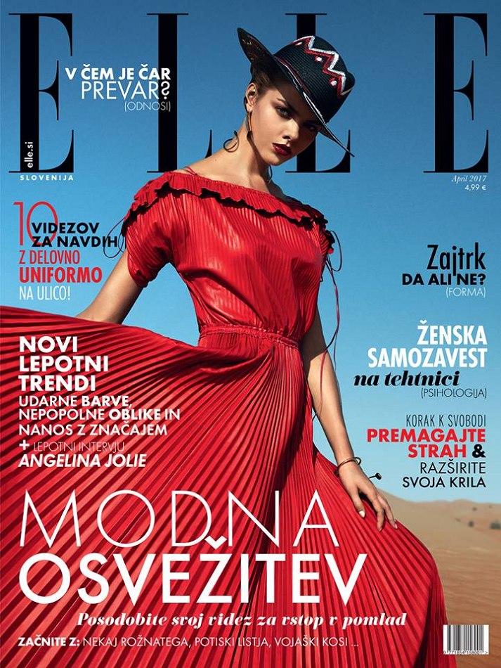 Elle magazine cover Modna Osvezitev Femlae Model wearing red dress
