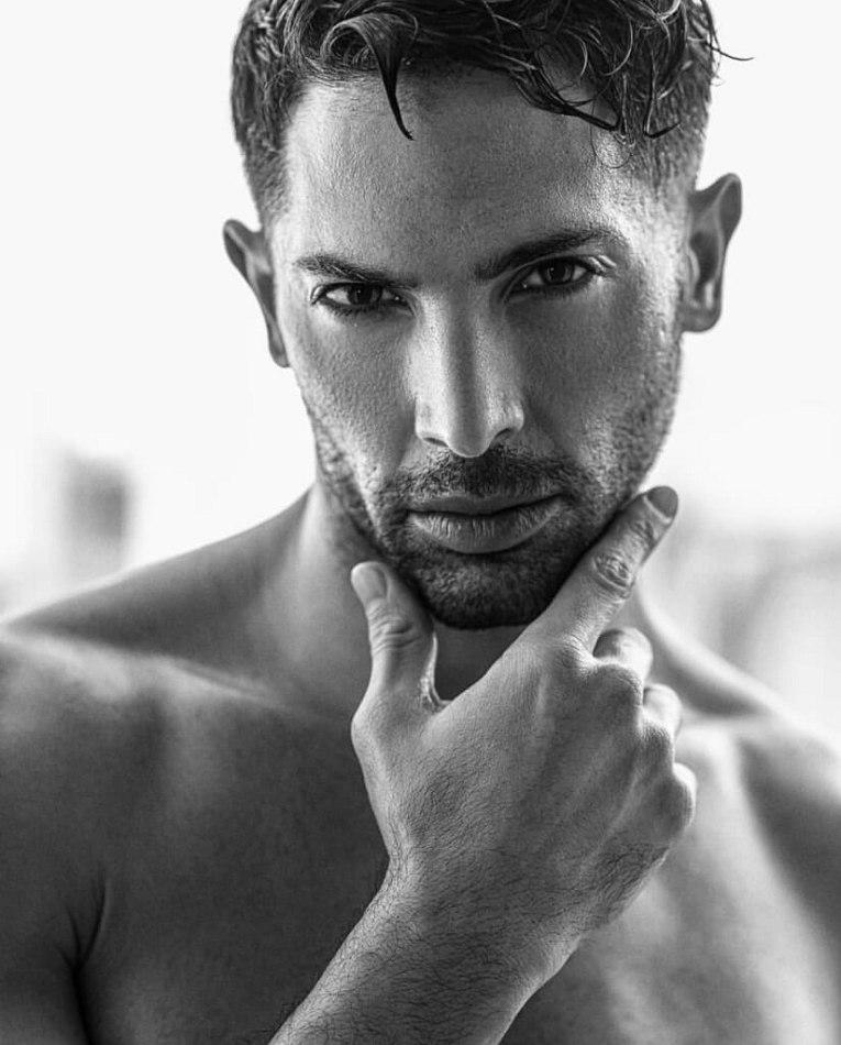 Male model Rami black and white photo