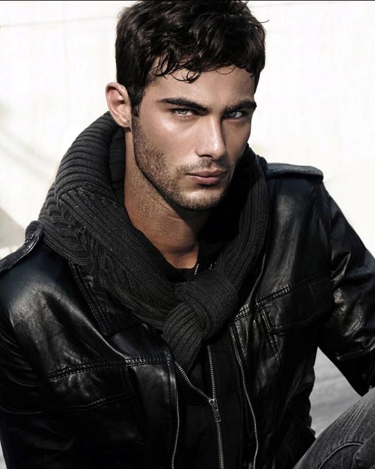 Male model Lucas wearing black jacket