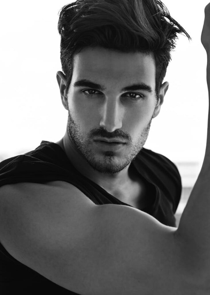 Male Model Daniele M black and white photo arm showing
