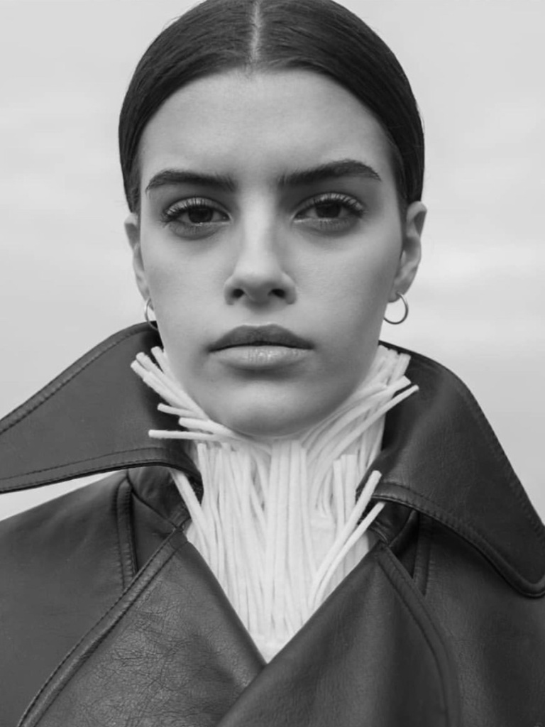 Female model black and white photo close up